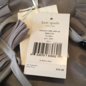 kate spade Tops - Kate spade ruffle solid top in grey. NWT
